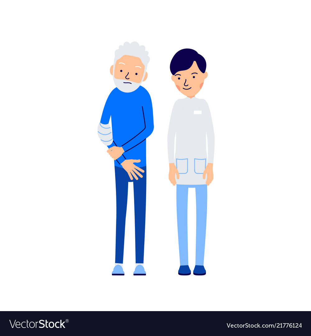 Doctor and patient elderly man holds sore hand