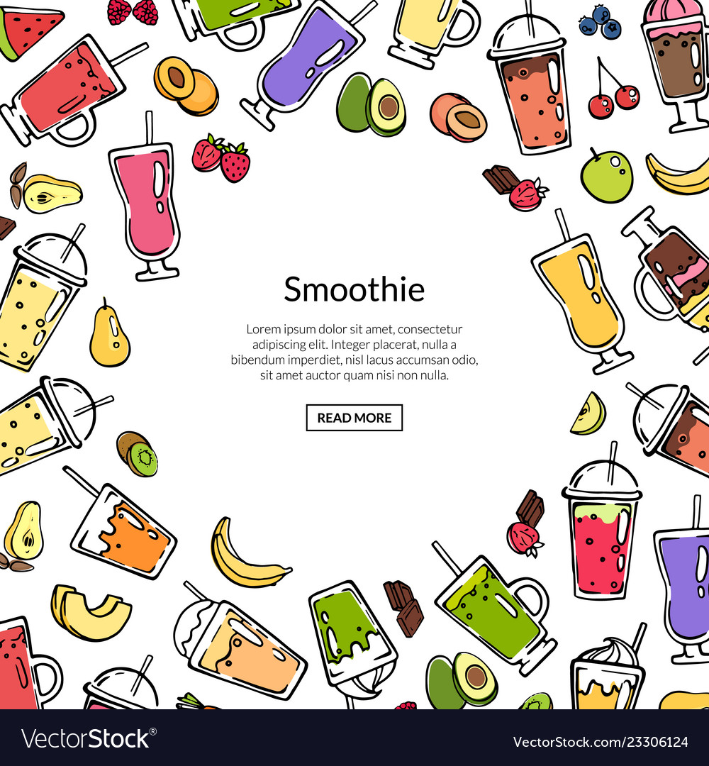 Doodle colored smoothie drink background