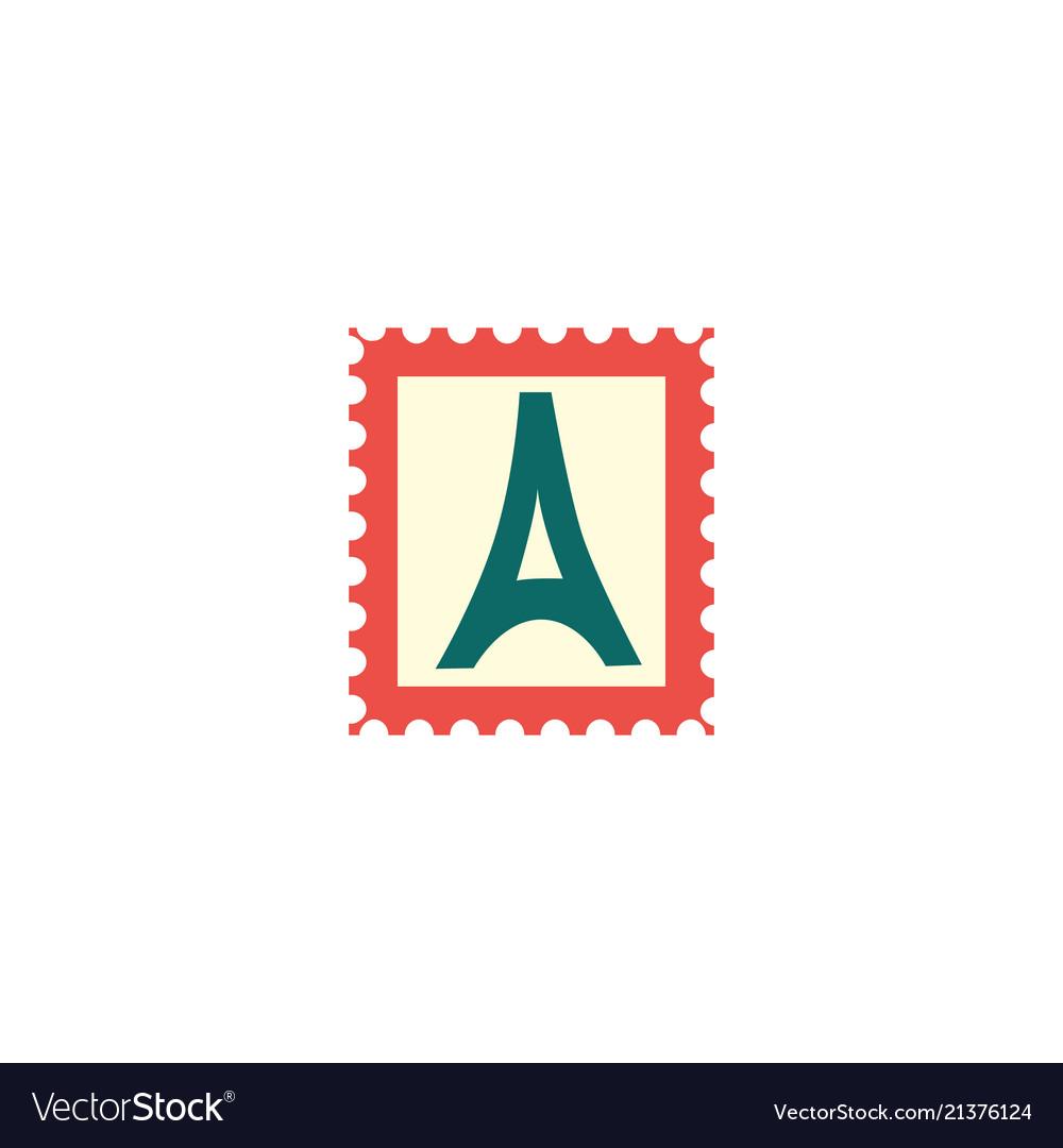 Flat vintage postage stamp postmark icon