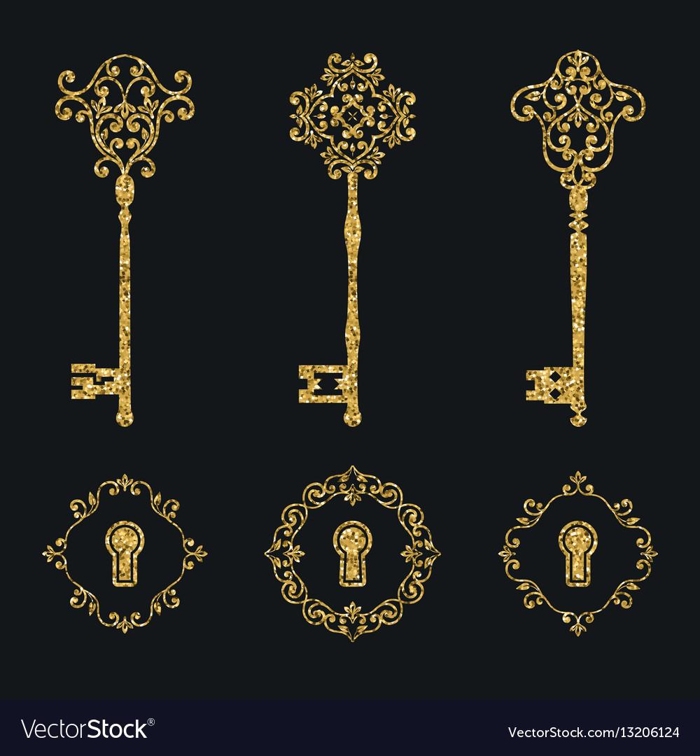 Golden glitter vintage keys and keyholes set