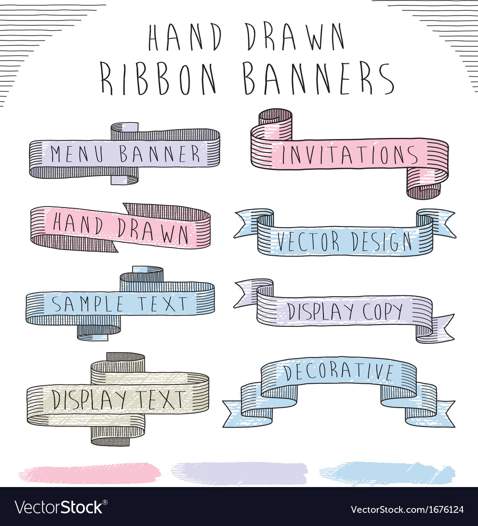 Hand drawn banner and ribbon design set