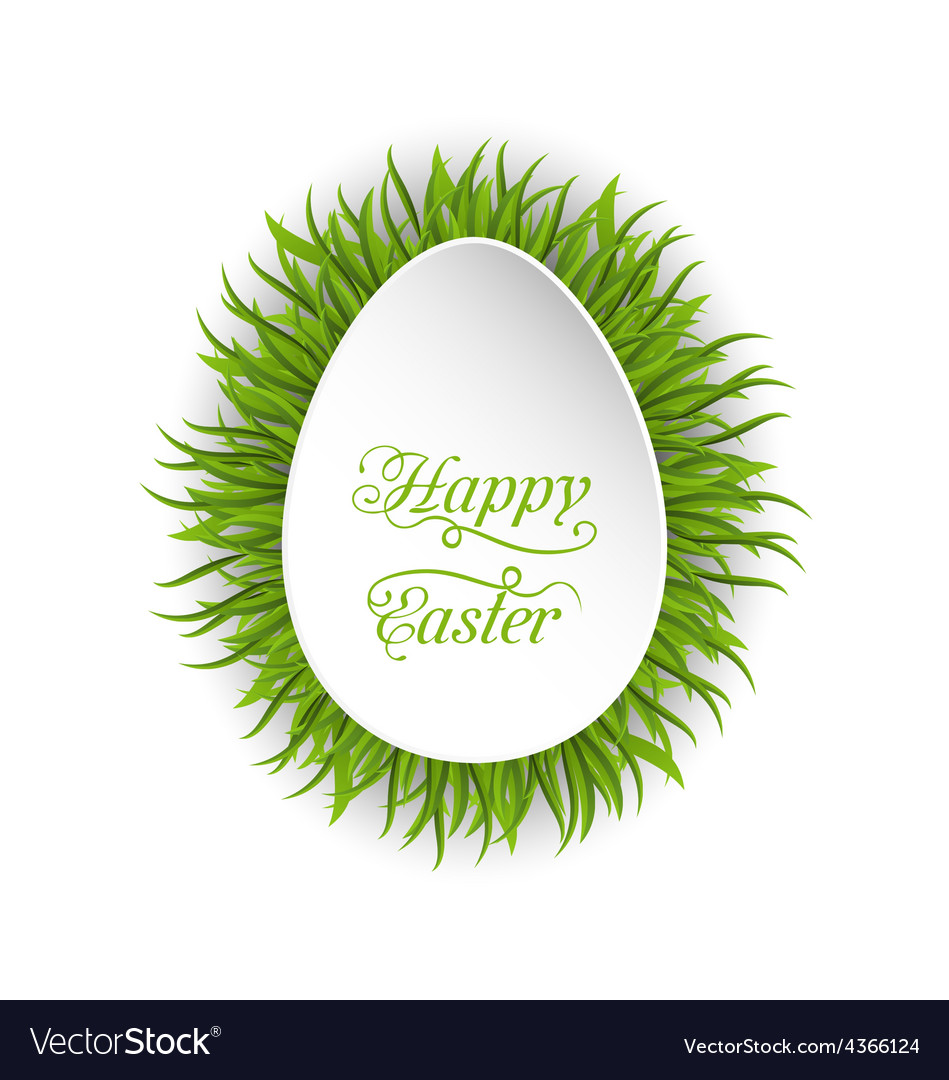 Happy Easter paper card in form egg with green