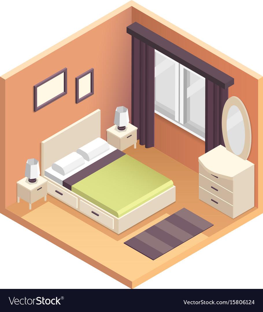 Isometric bedroom interior design