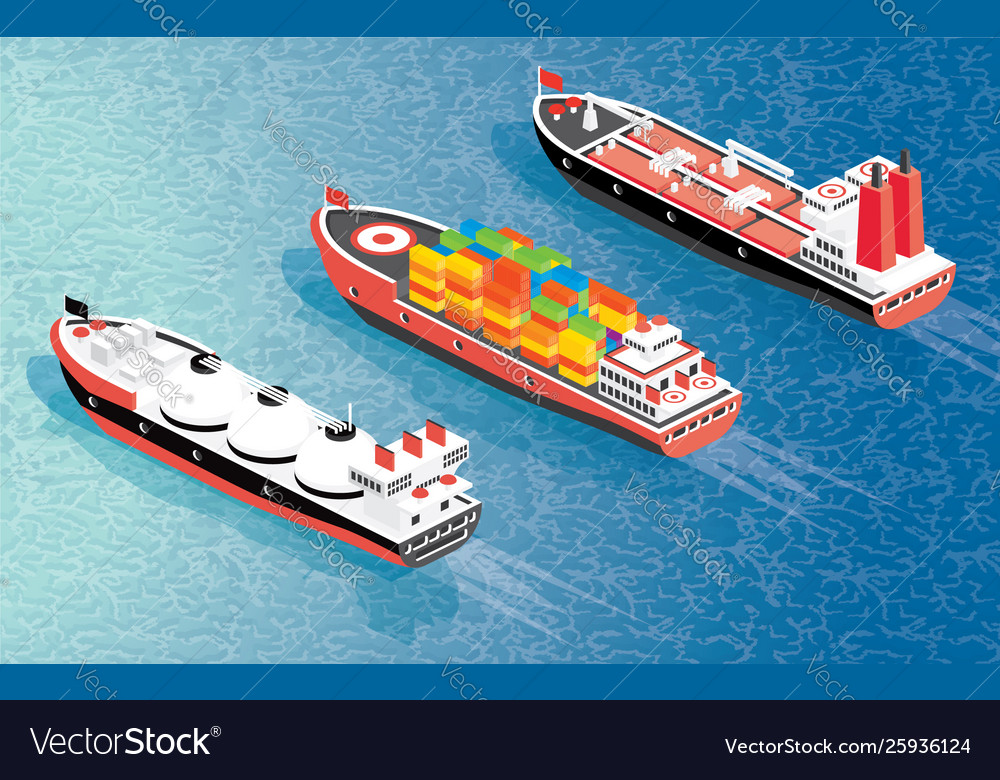 Isometric cargo ship container lng carrier ship