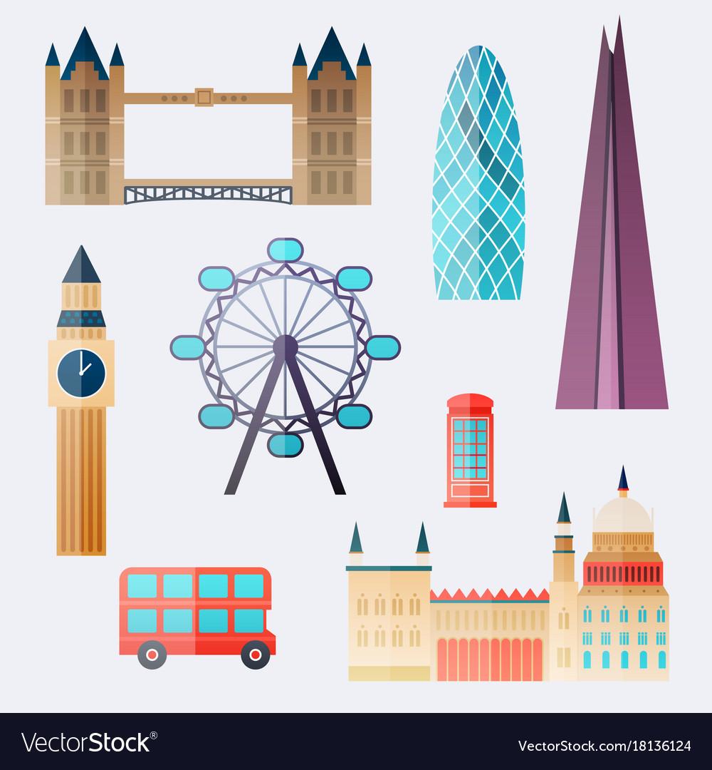 London travel buildings and famous landmarks big