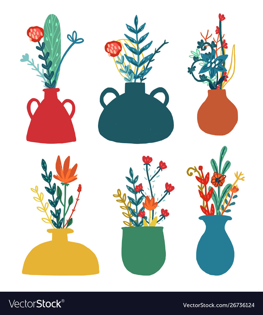 Set vases with floral bouquets