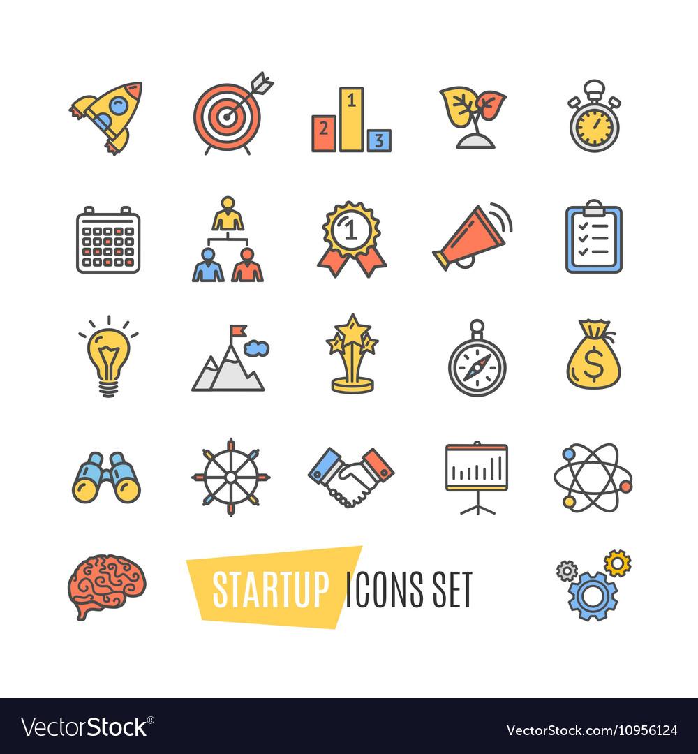 Start Up Motivation Brainstorming Color Icon Set