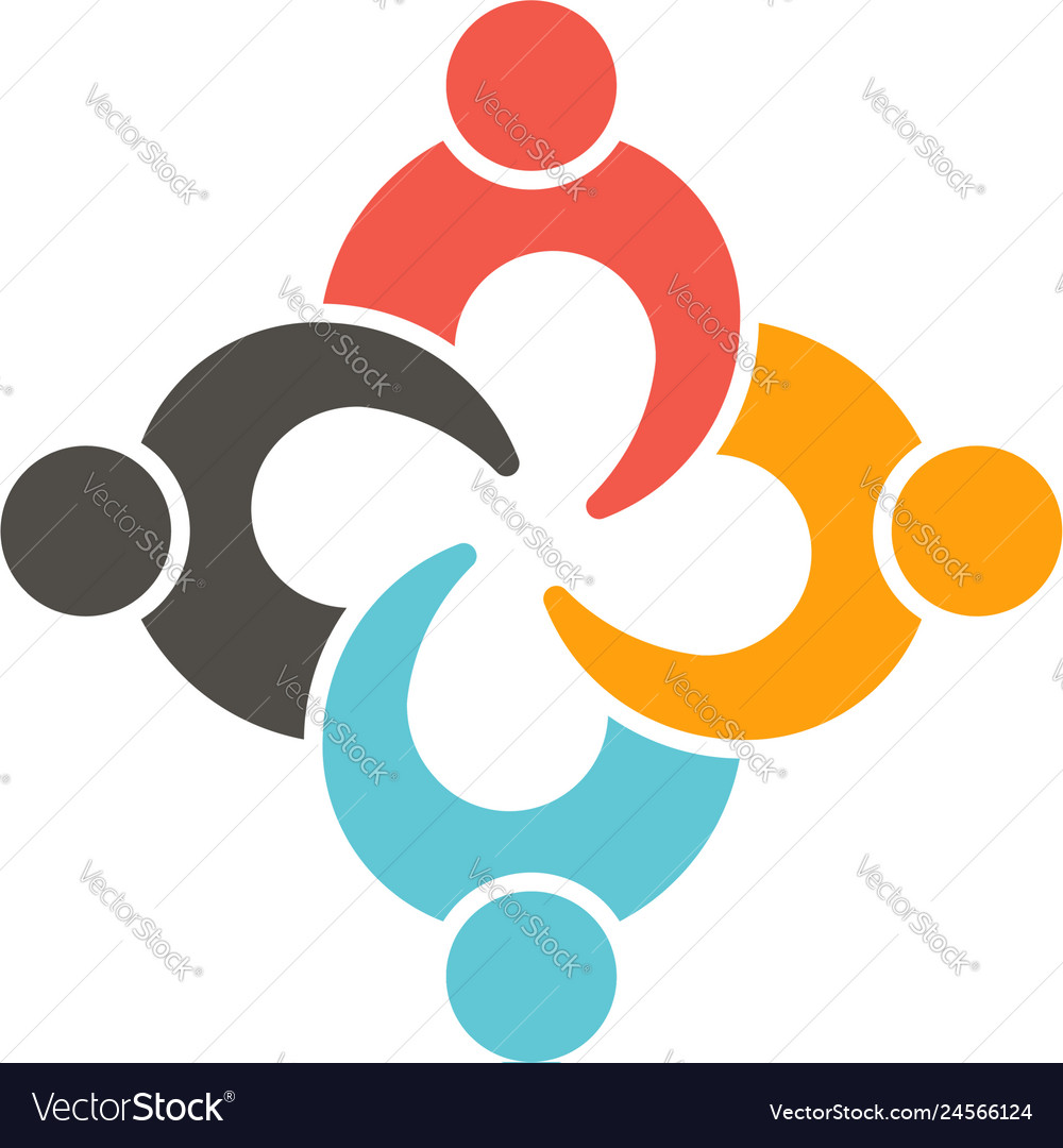 Teamwork connection four people logo