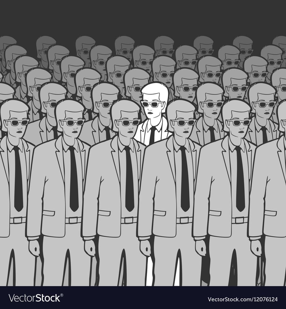 Unique Man in the Crowd vector image