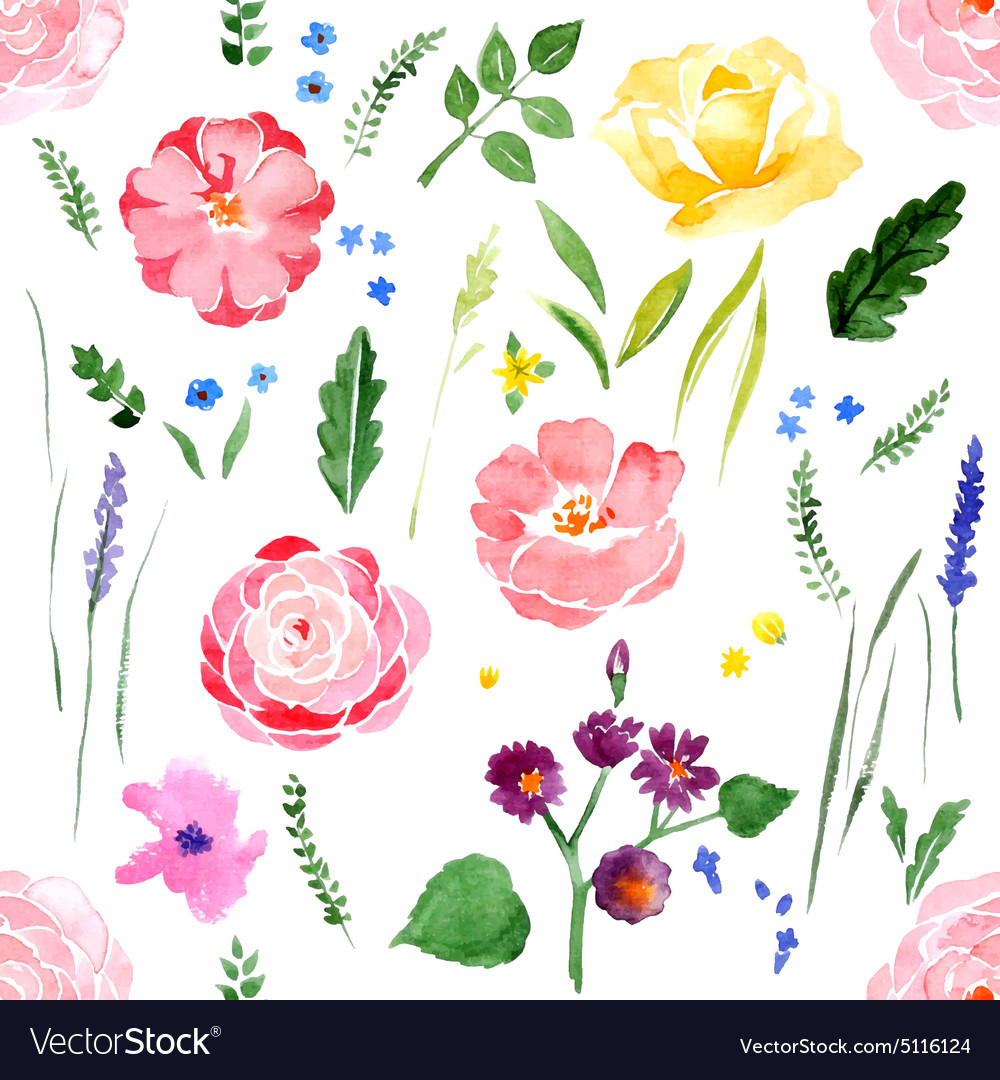 Watercolor floral seamless