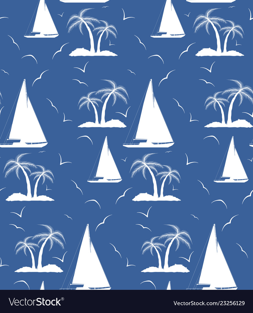 A seamless repeating pattern of palm trees and