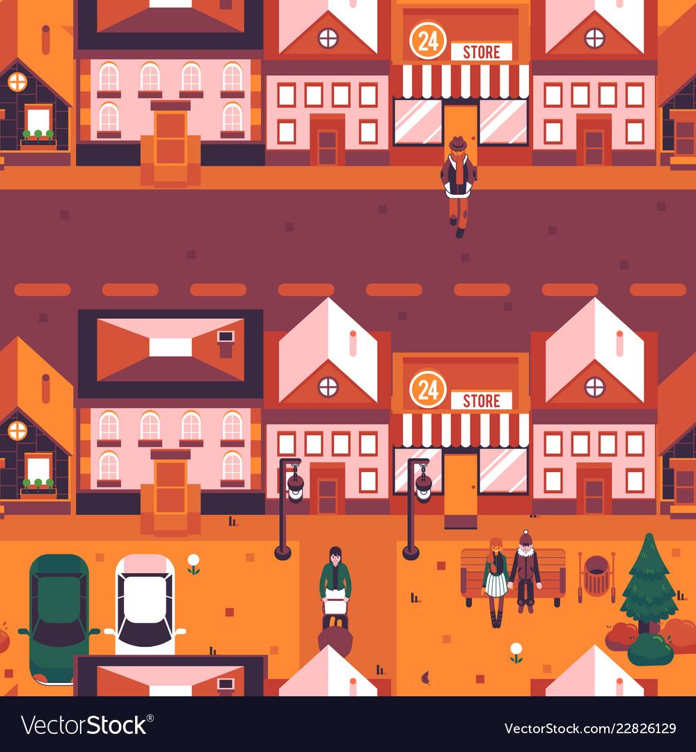 Autumn city landscape people walk street