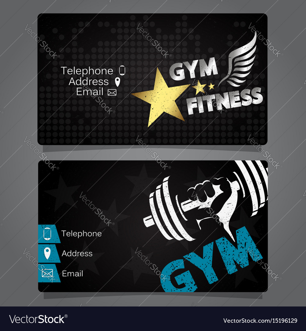 Business card gym and fitness design Royalty Free Vector