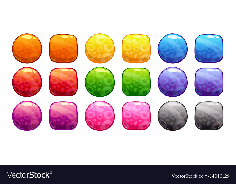 Cartoon colorful buttons set vector image