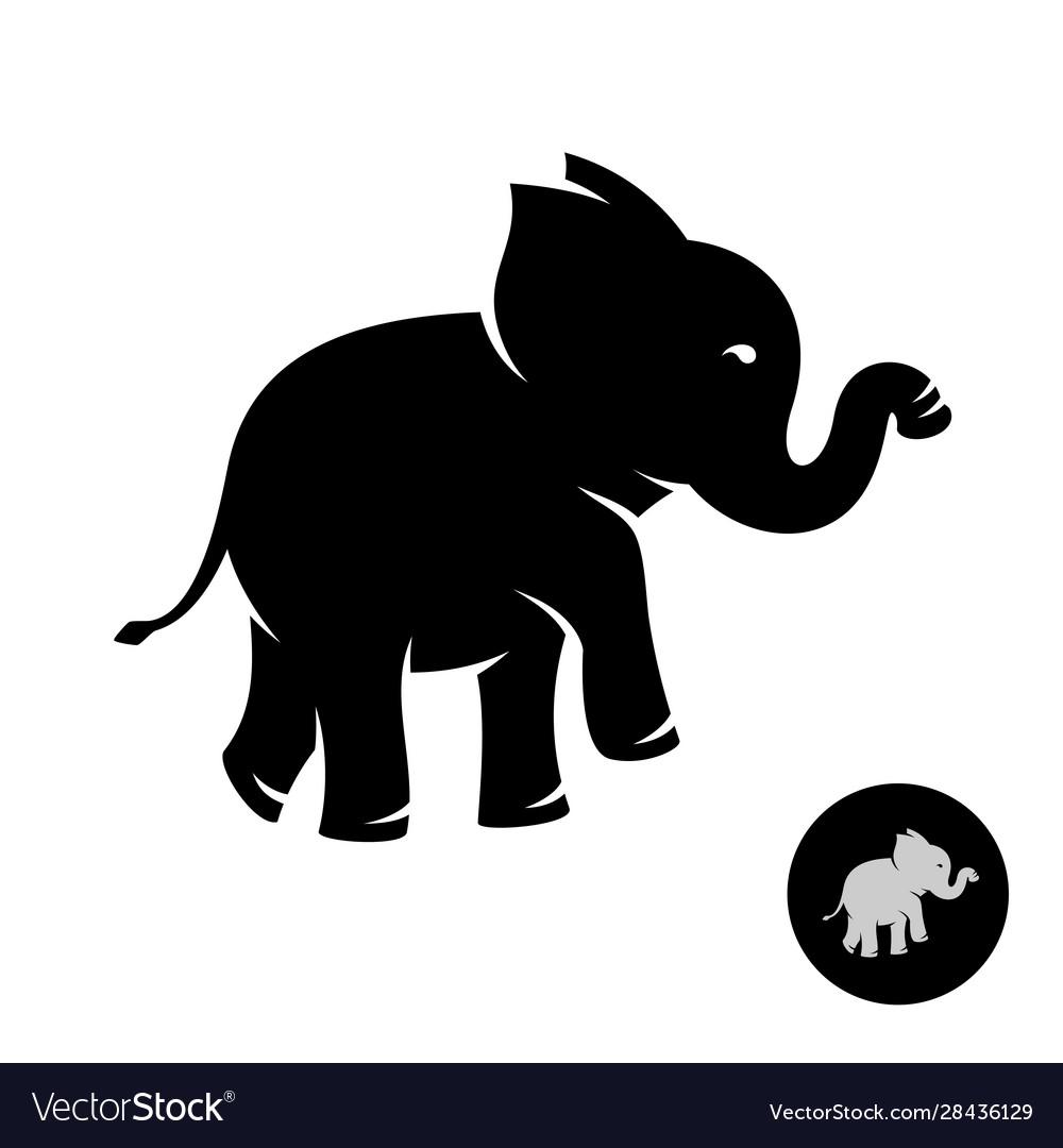 Cute small elephant baby stylized logo black