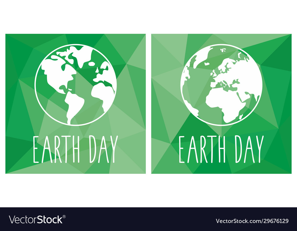 Earth day flat icon set with green planet