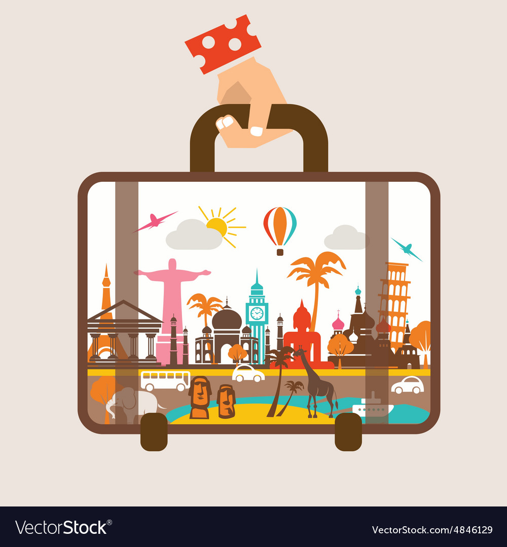 Hand holding luggage travel around the world