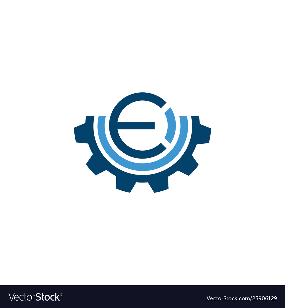 Initial letter e industrial logo with gear icon