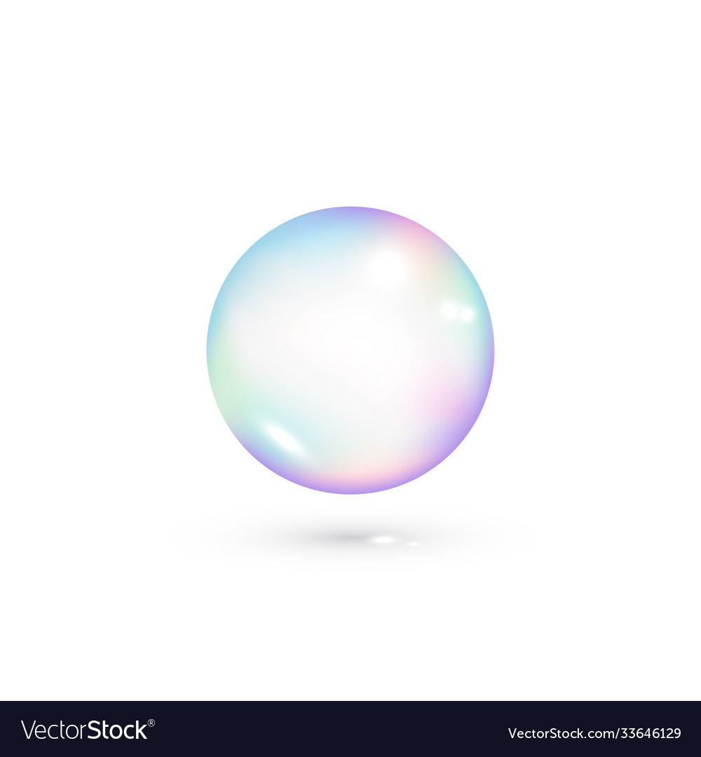 Iridescent soap transparent bubble realistic