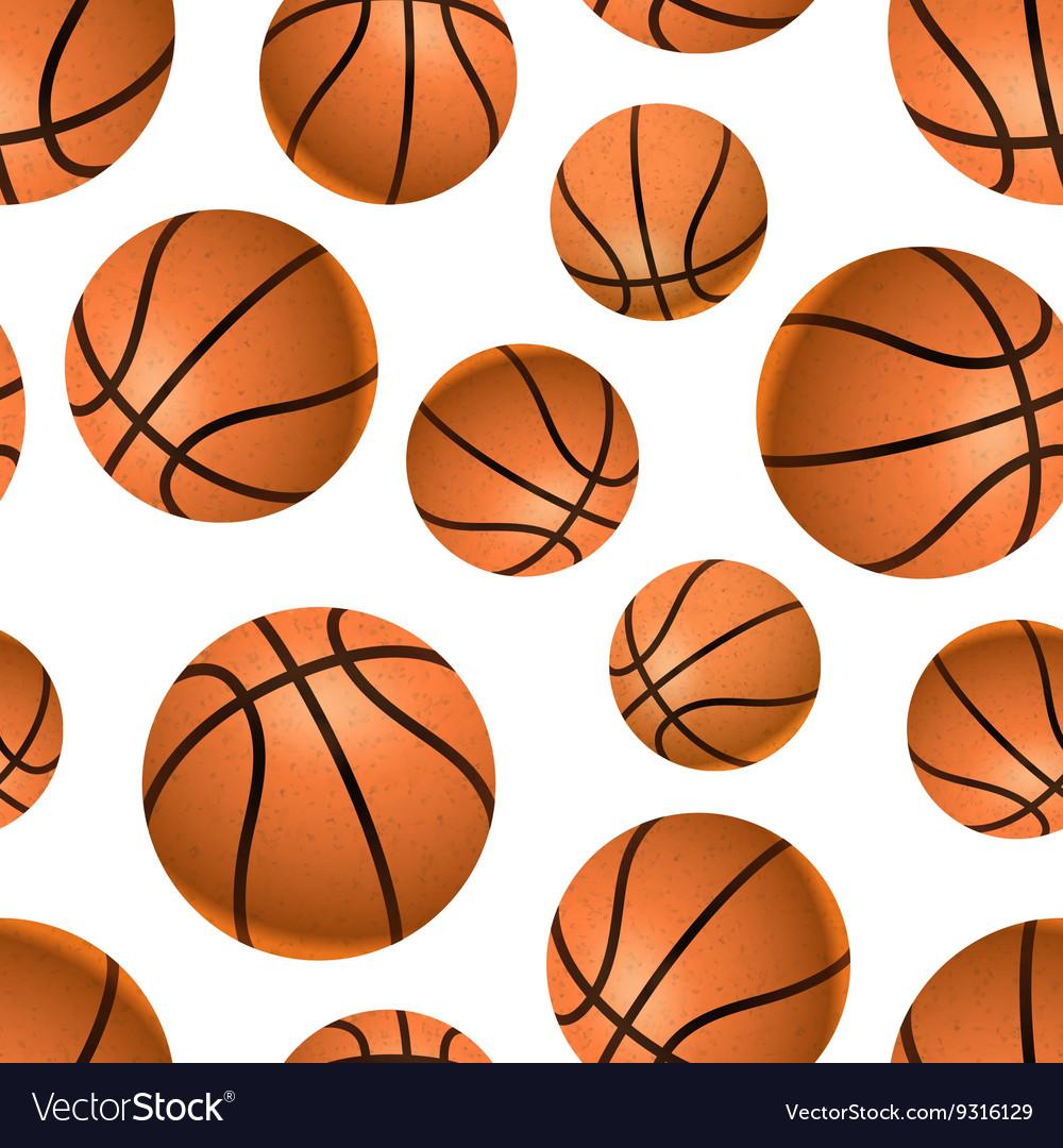 Many realistic basketball balls on white seamless
