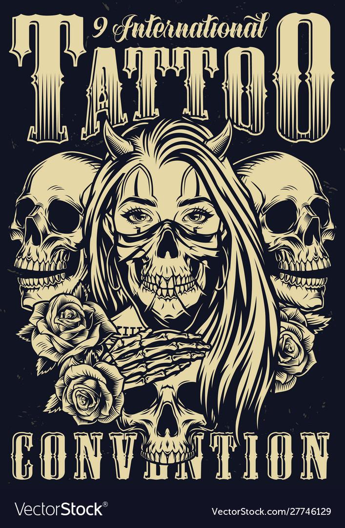 Monochrome tattoo festival vintage poster