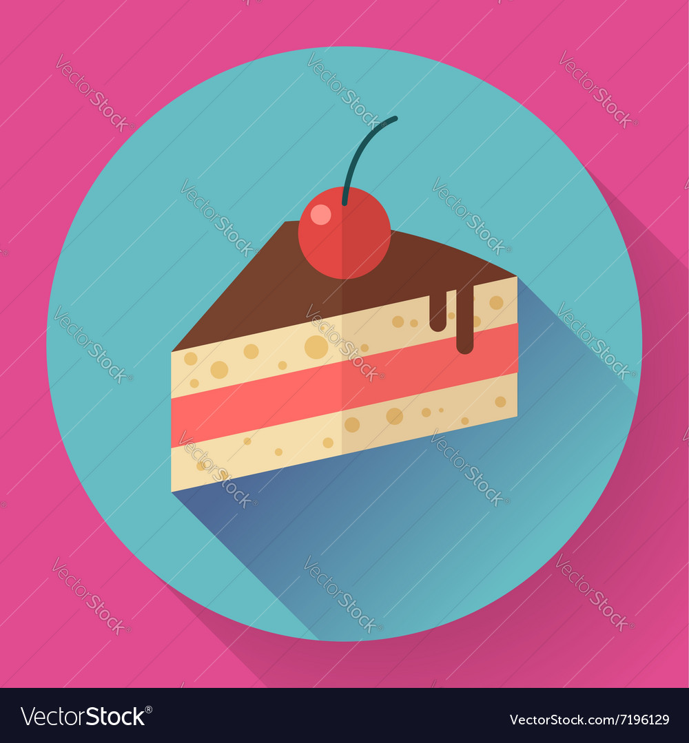 Piece of cake with cherry icon modern minimal