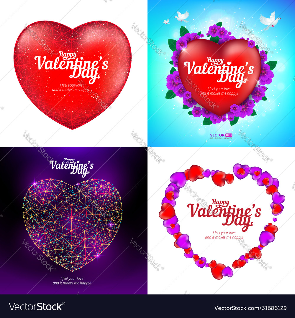 Set happy valentines day greeting cards