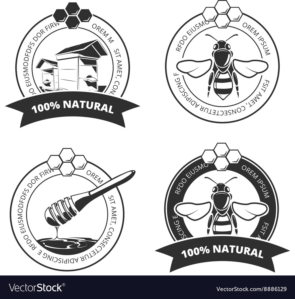 Vintage honey and bee labels badges