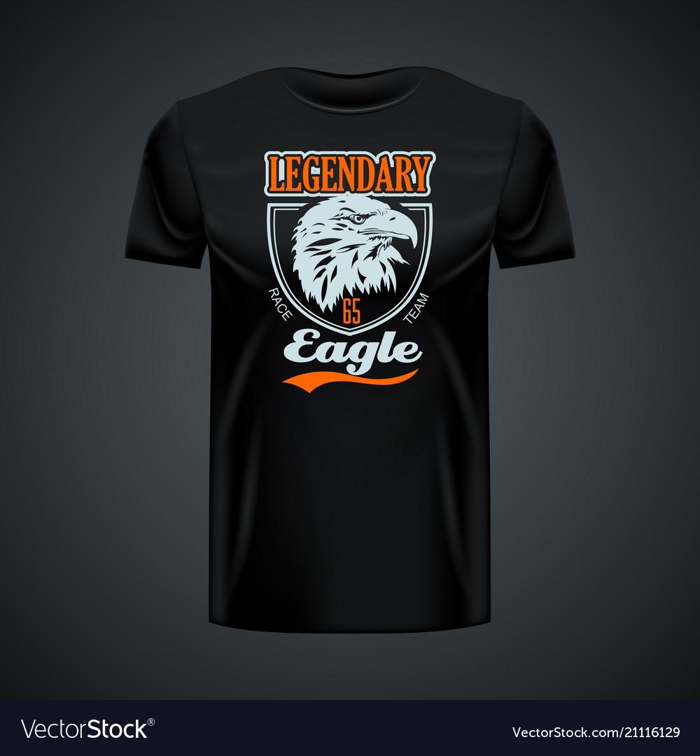 Vintage logo legendary eagle printed on black