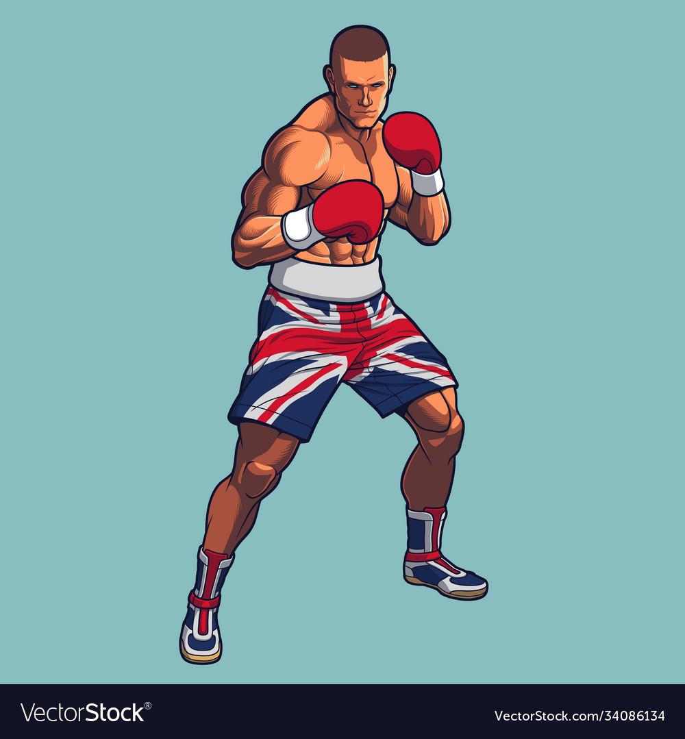 Boxing fighter wearing uk flag shorts