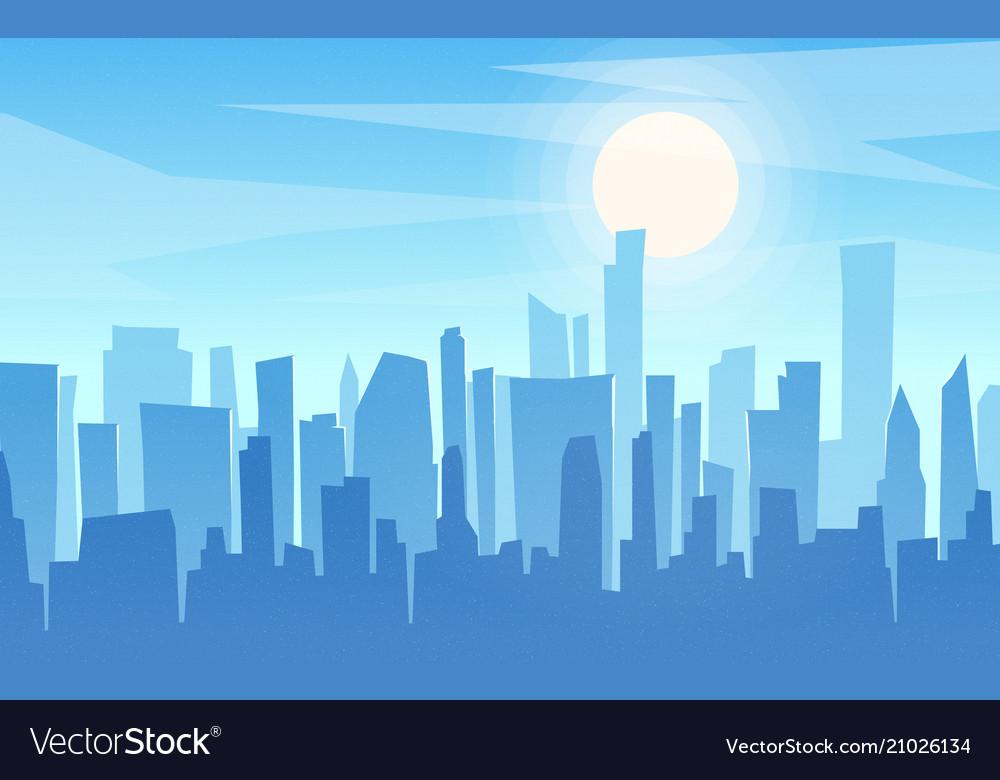 Daytime cartoon flat style cityscape skyline