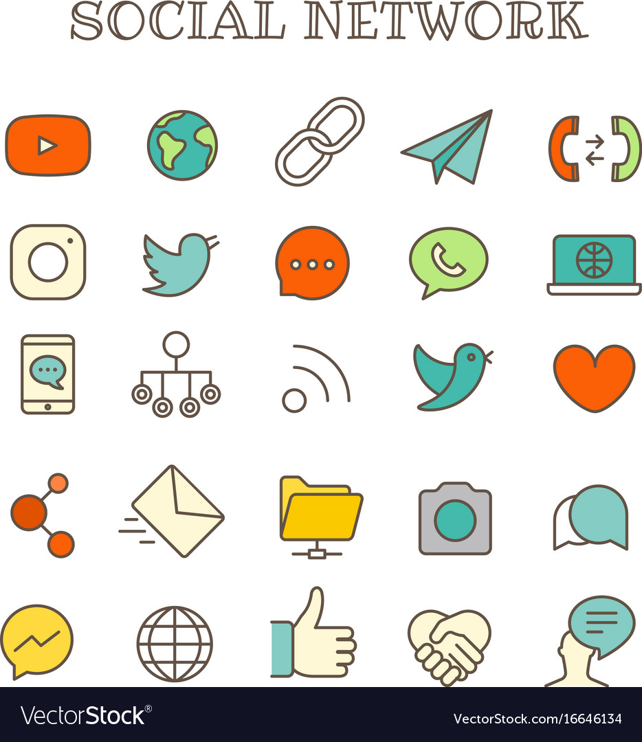 Different social networking thin line color icons