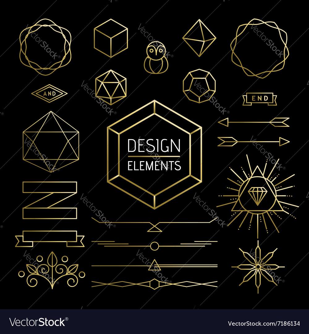 Element set gold hipster outline lettering label