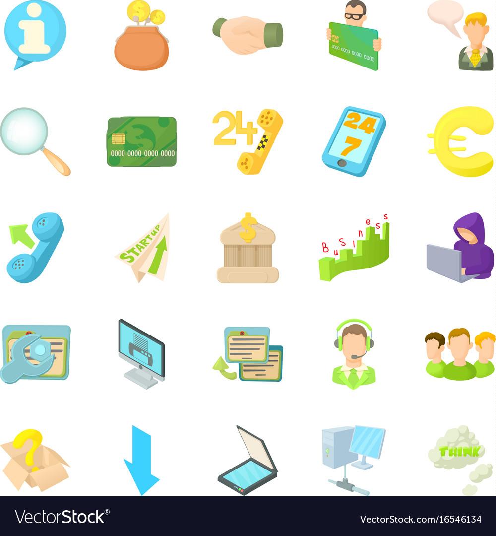 Internet money icons set cartoon style