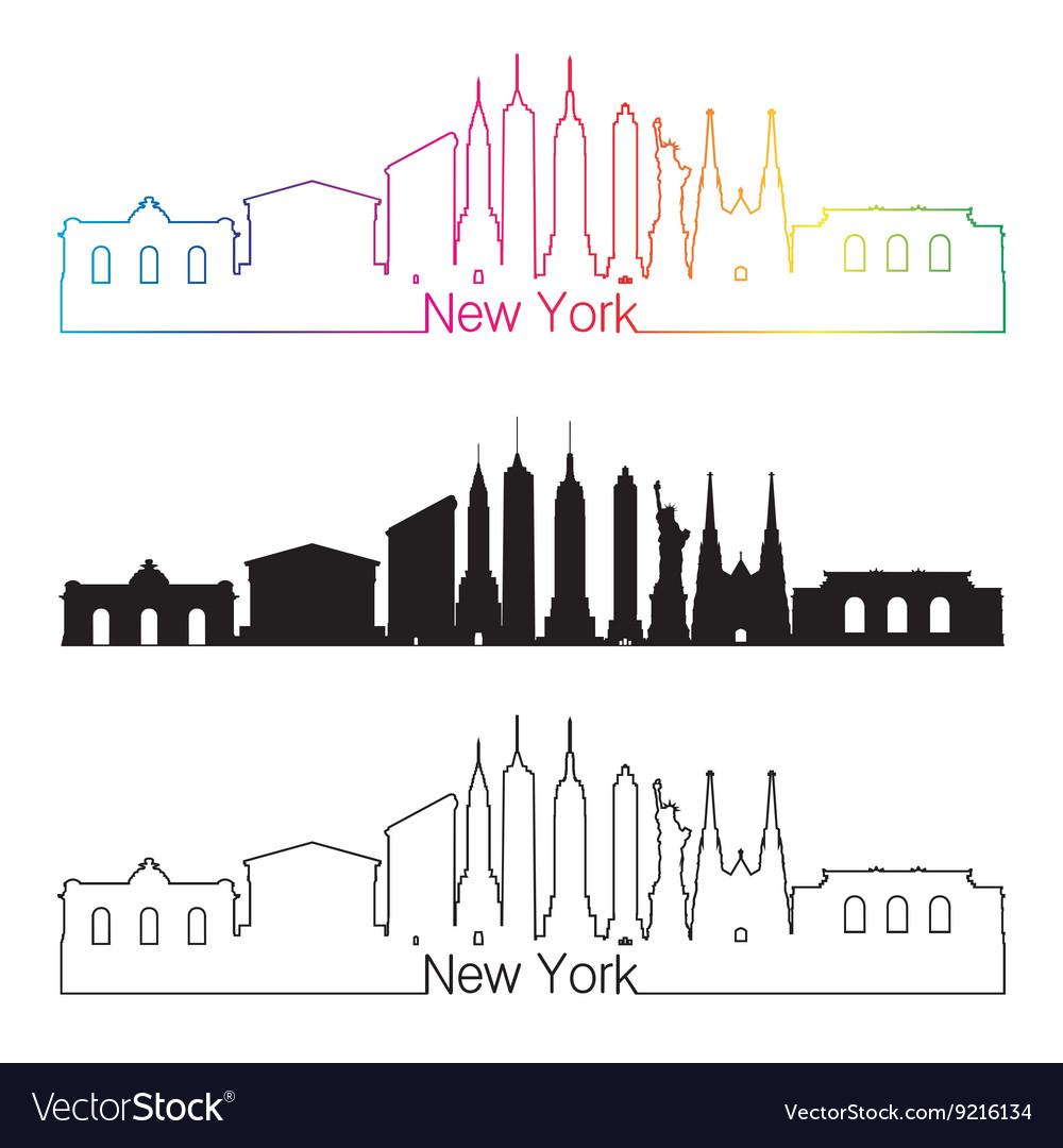 New York skyline linear style with rainbow