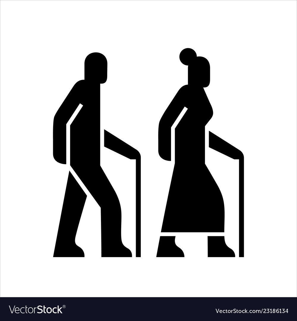 Older people on a walk sign icons silhouettes of