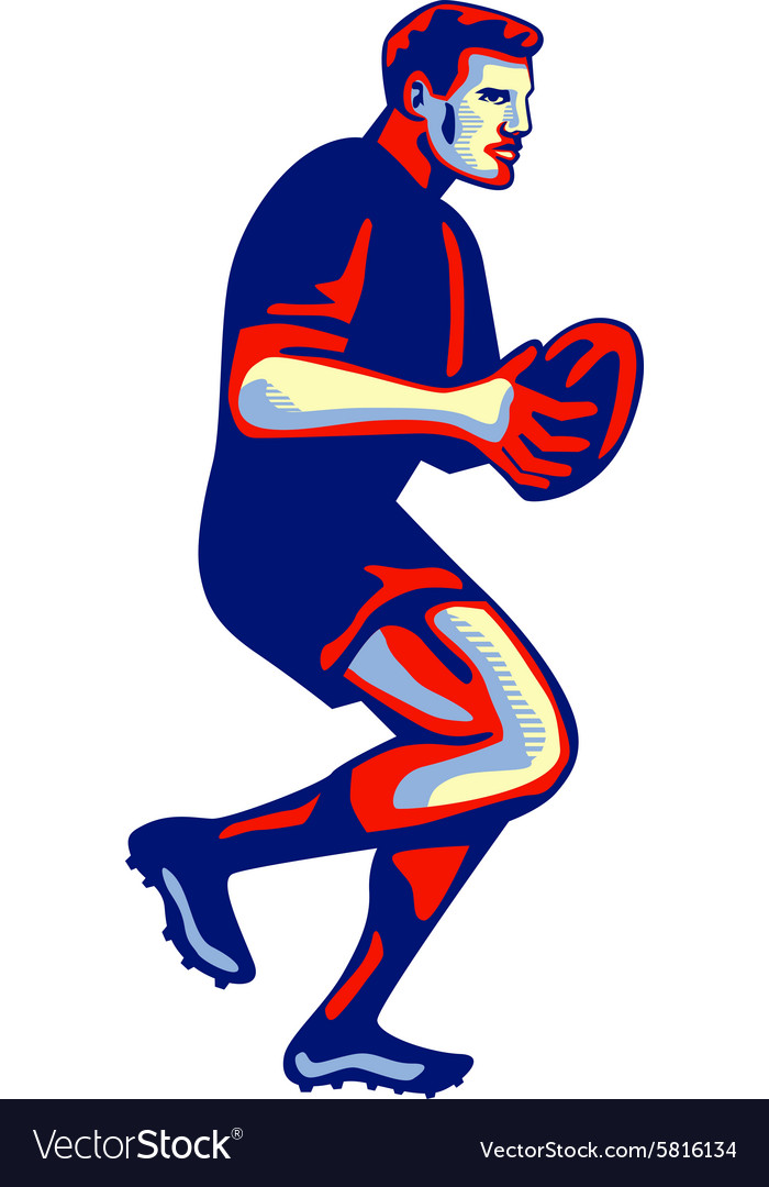 Rugby Player Running Passing Ball Retro