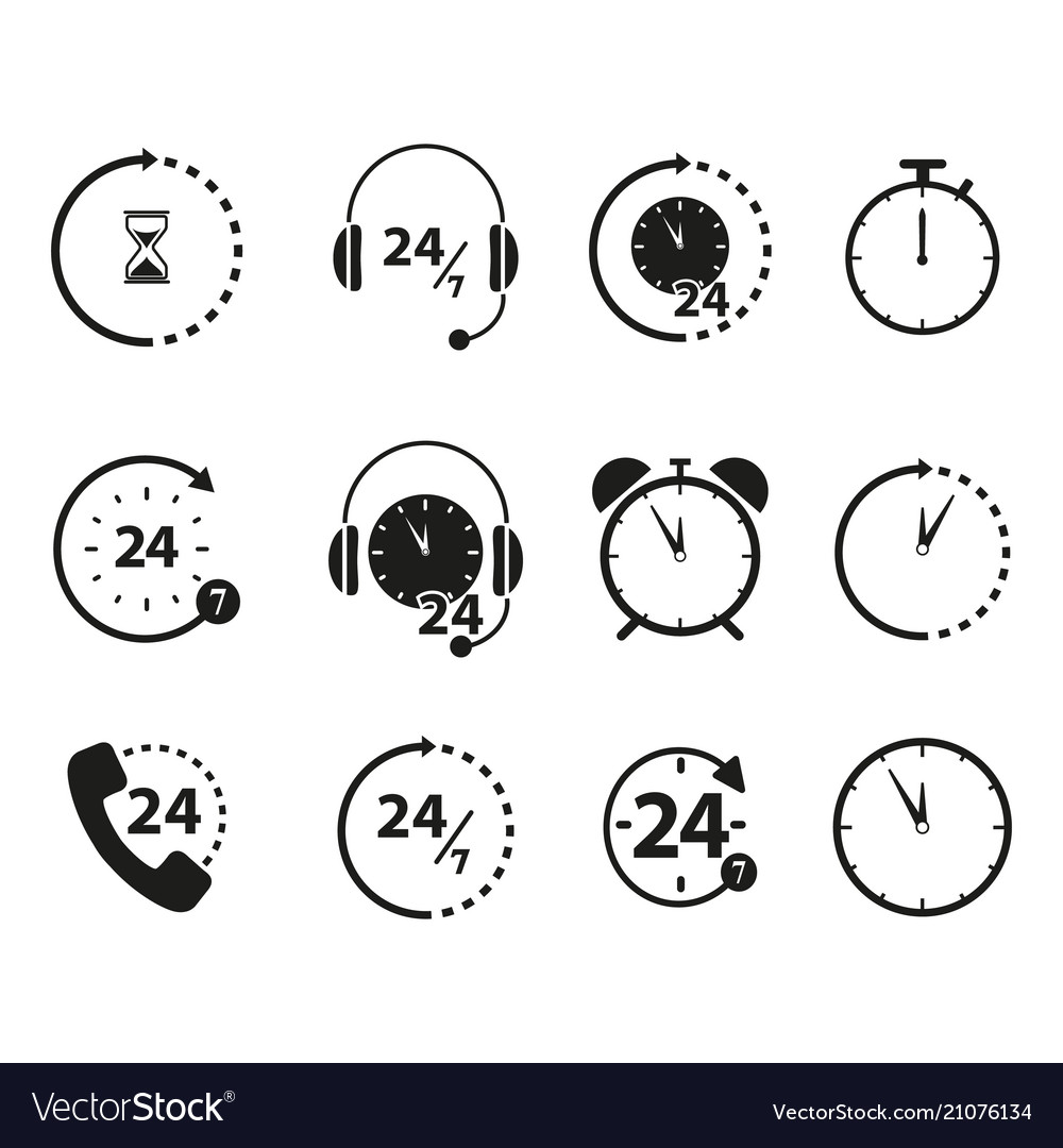 Set of non stop 24 time icons vector image