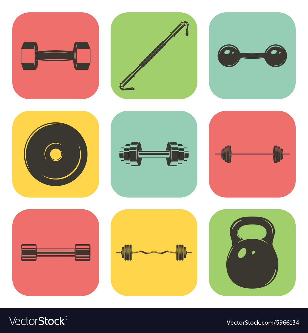 Set of sign weights for fitness or gym icons