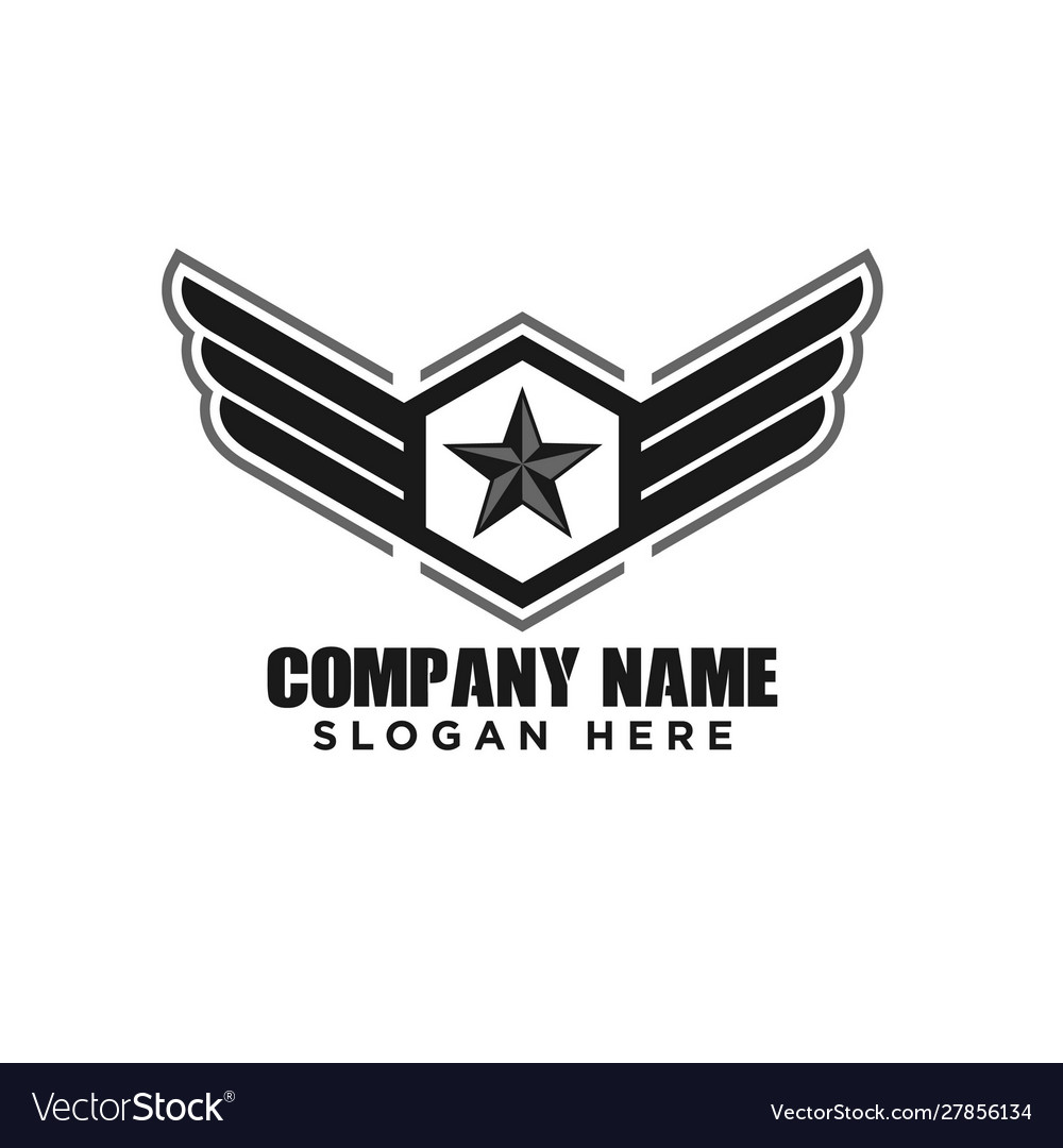 Star and wings military emblem logo design