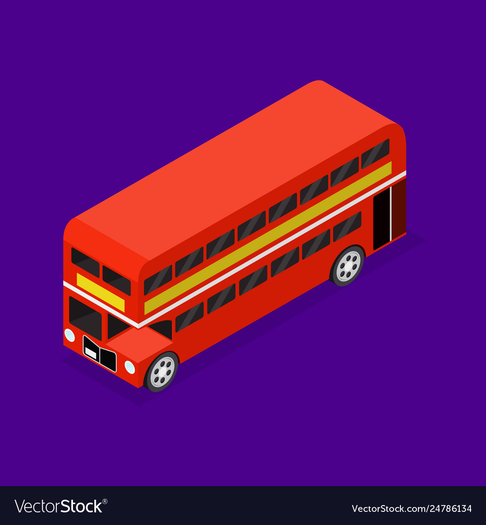 Transport red bus 3d isometric view