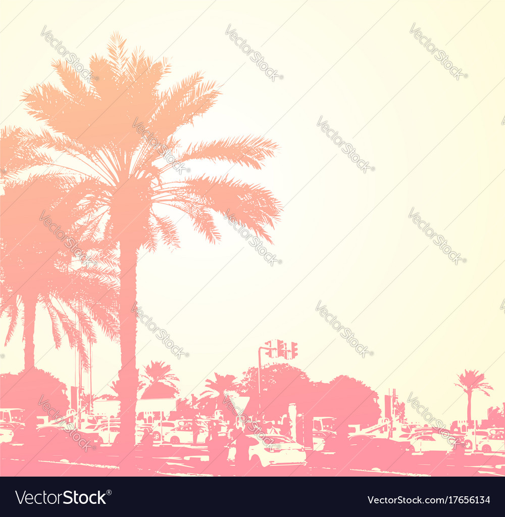 Travel background with palms vector image