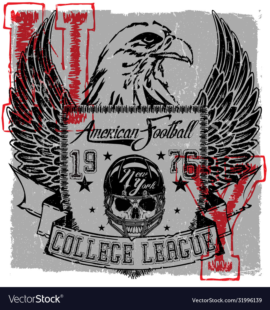 American football eagle logo tee graphic poster