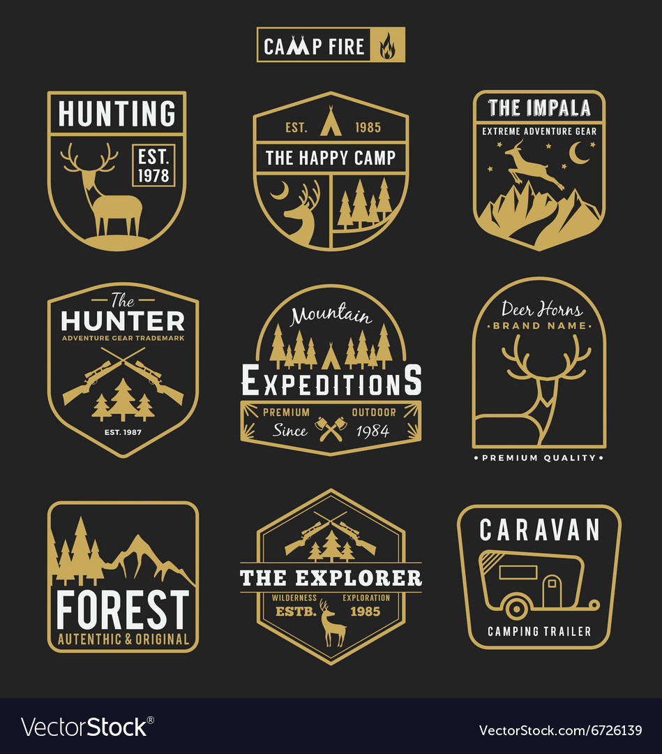 Camping outdoor and adventure gears badge logo