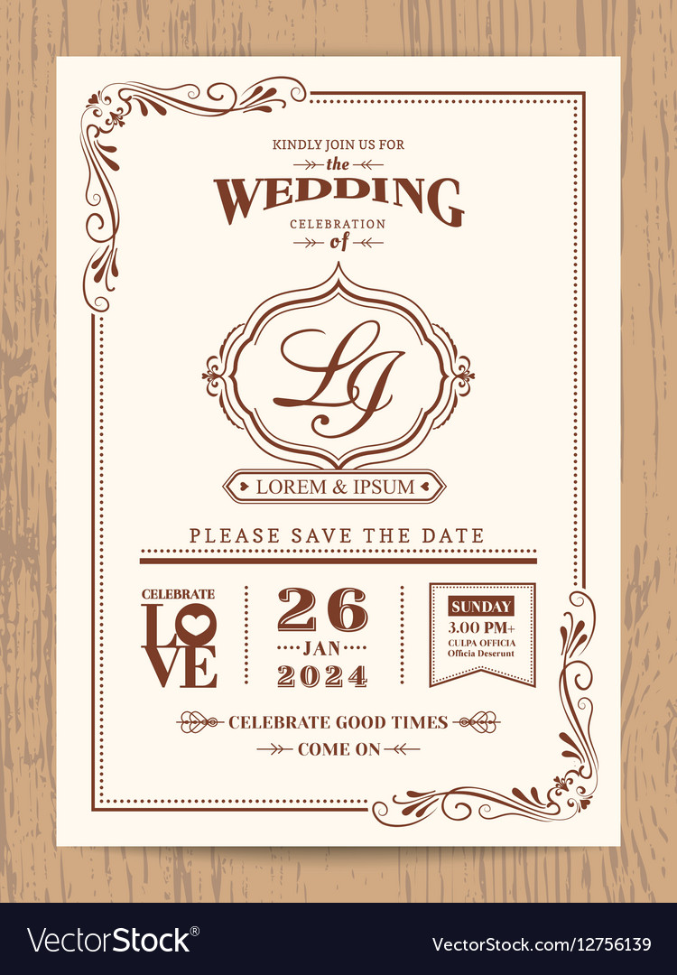 Classic vintage wedding invitation card Royalty Free Vector
