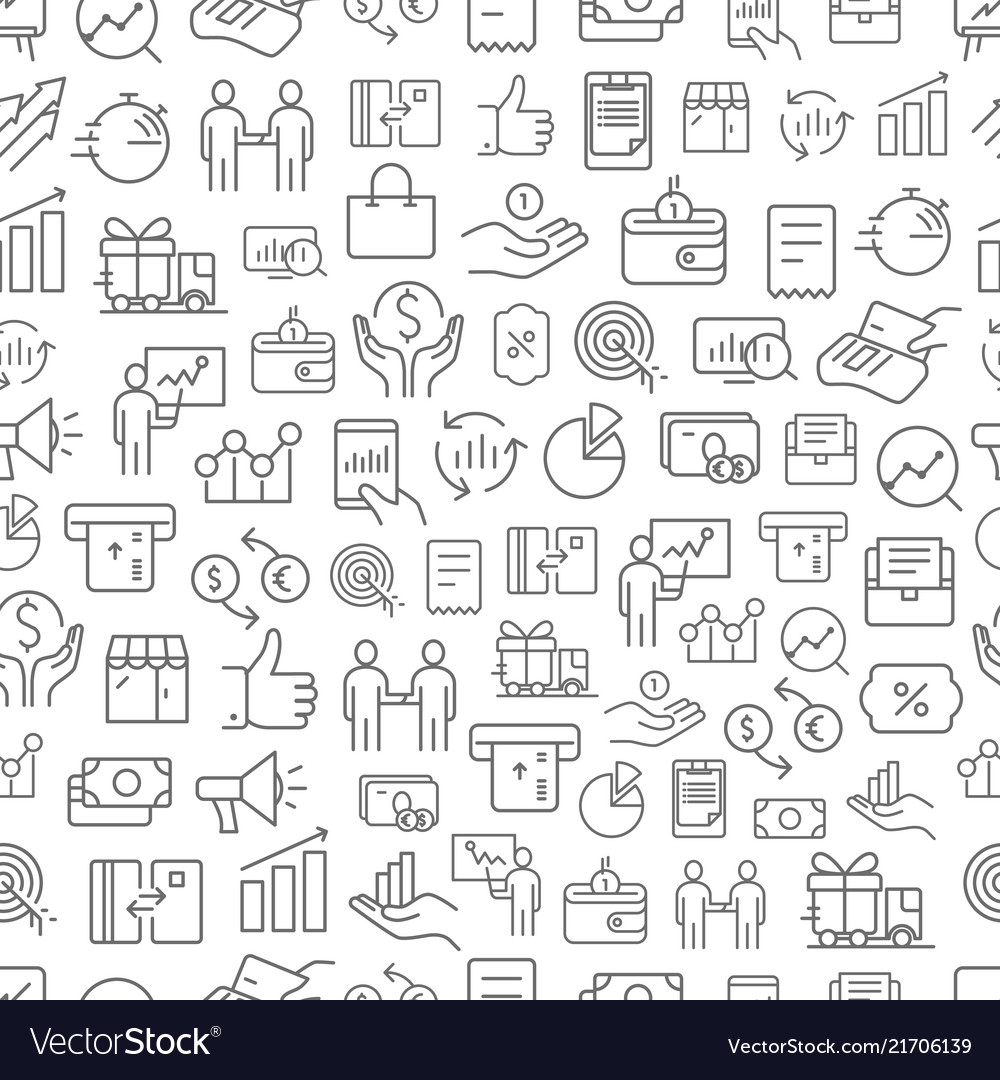 Different business app icons seamless pattern