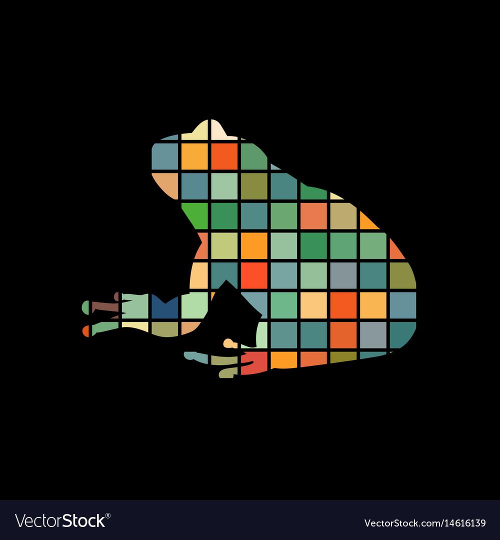 Frog amphibian color silhouette animal