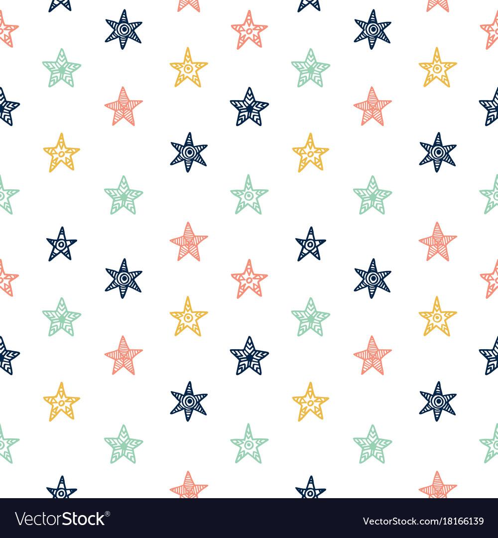 Hand drawn star doodles seamless pattern