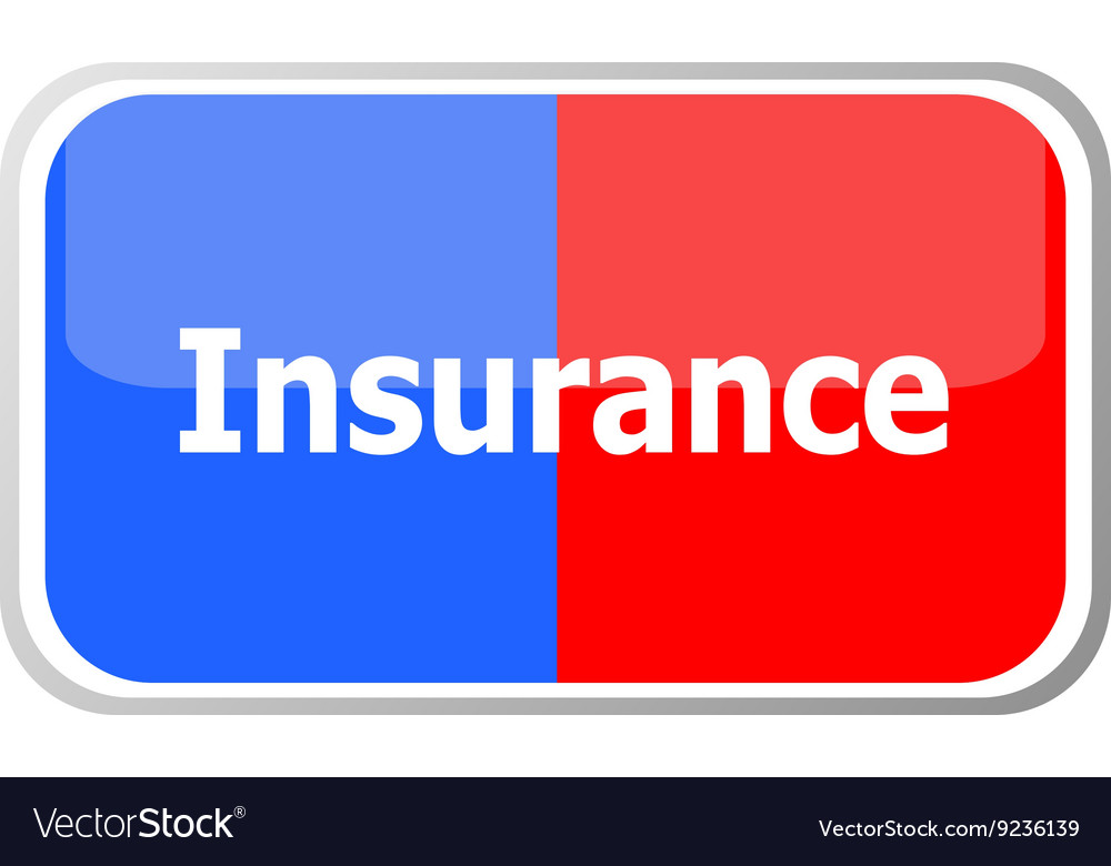Insurance word on web button icon isolated