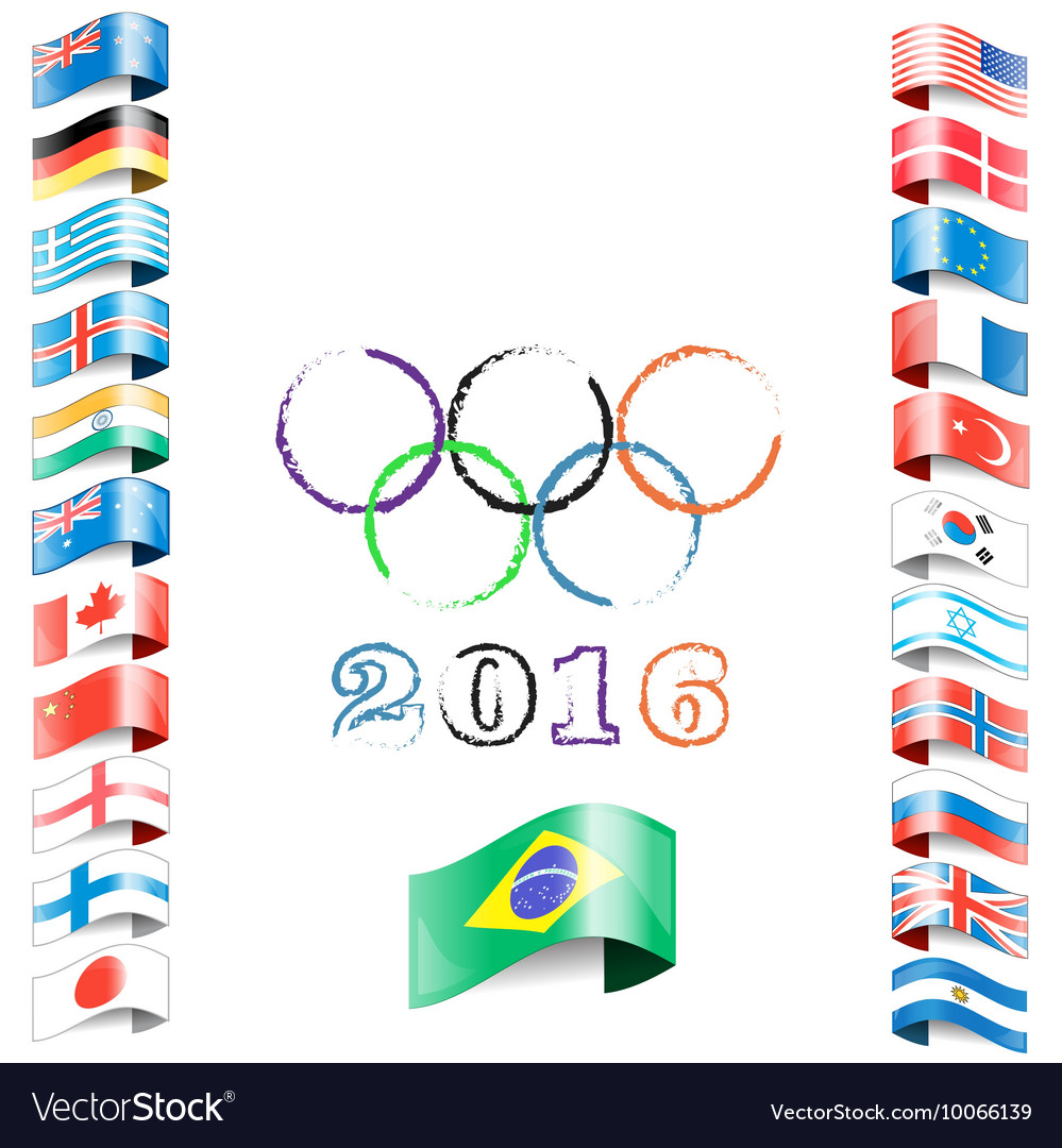 Olympic flags rings rio